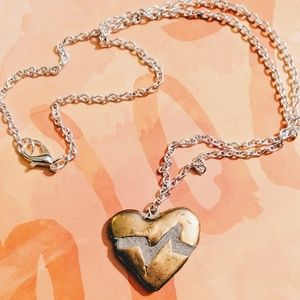 Jewelry - Heart Necklace Silver/Gold Reversible Mosaic Tile